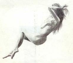 Nude in black bic pen